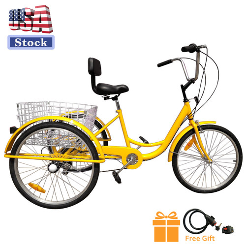 "24"" Tricycle Adult 3-Wheel Trike 7-Speed Bicycle with Basket Yellow (lock + pump )"