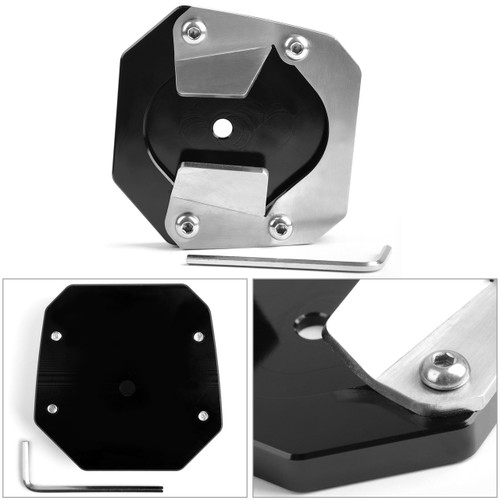 CNC kickstand sidestand extension enlarger pad For Yamaha XT1200ZE Super Tenere 14-18 Black
