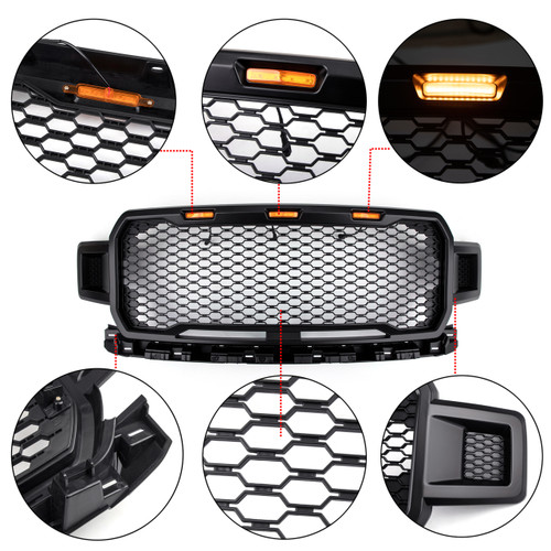LED Grille Repalcement Upper ABS Grill For Ford F150 2018-2019 Black Amber With Logo
