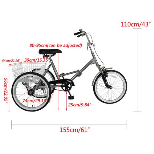 "Folding Tricycle Trike 20"" 3 Wheeler Bicycle Portable"