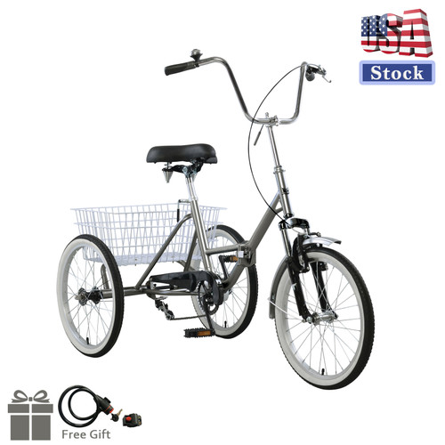 """Adult Folding Tricycle Bike 3 Wheeler Bicycle Portable Tricycle 20"""" Wheels Gray (Lock + Pump)"""