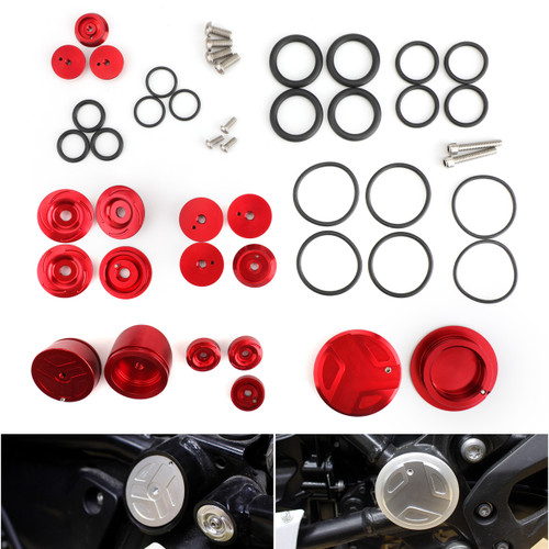 Upper Frame Plugs Caps Covers Set CNC Aluminum For BMW R1200GS ADV LC 13-19 Red