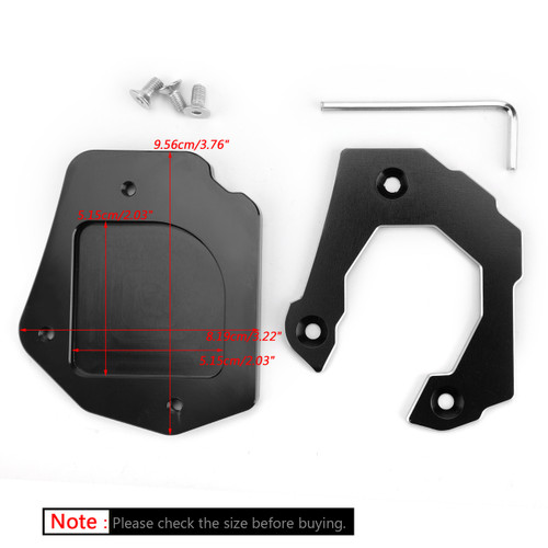 Sidestand Plate Kickstand Extension Pad CNC Aluminium For BMW F800GS 08-16 Black