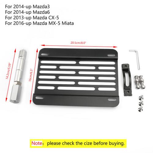 Bumper Tow Hook License Plate Mount Bracket Holder For 14-up Mazda3 Mazda6 13-up Mazda CX-5 16-up MX-5 Miata Black