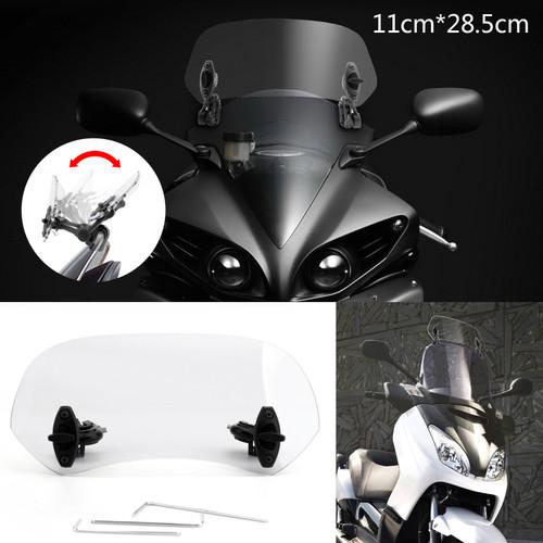 Adjustable Clip On Windshield Extension Spoiler Wind Deflector fit for Honda Yamaha Suzuki Kawasaki BMW Aprilia Ducati Clear