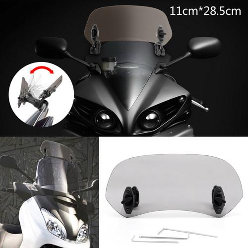 Adjustable Clip On Windshield Extension Spoiler Wind Deflector fit for Honda Yamaha Suzuki Kawasaki BMW Aprilia Ducati Smoke