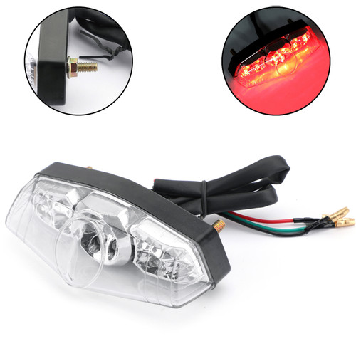 LED Brake Stop Running Rear Tail Light Lamp For Universal Motorcycle Clear