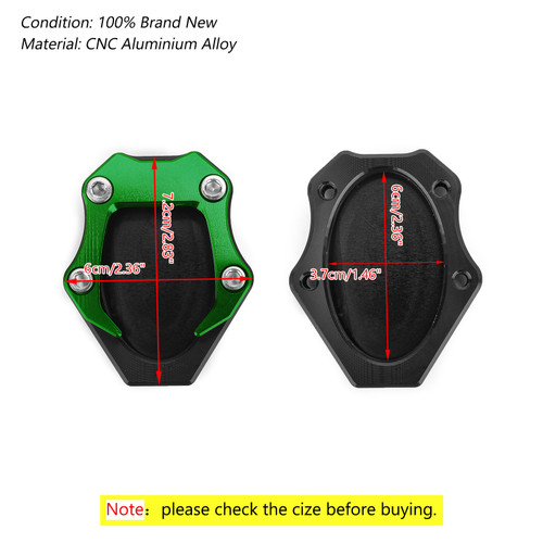 CNC Kickstand Side Stand Plate Extension Pad For Kawasaki Ninja 400 250 18 Green