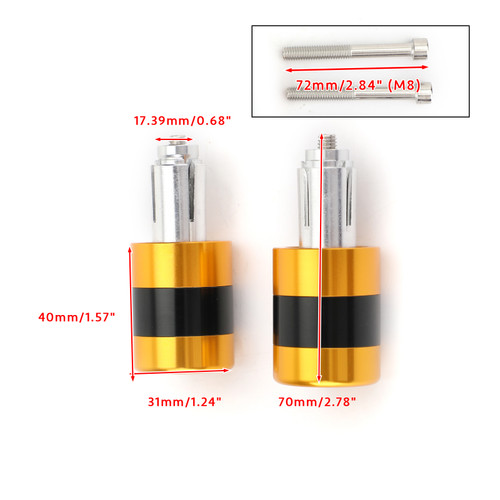 "Anti Vibration 7/8"" 22mm Handle Bar End Cap M6 / M8 Weight Slider Reducing Gold"