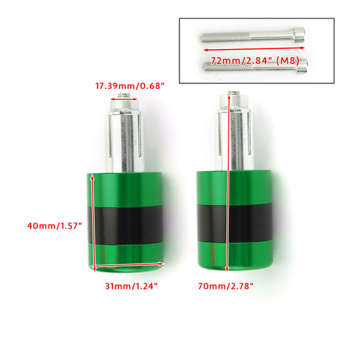 """7/8"""" 22mm Handle Bar Ends Heavy Weight Vibration Reducing Plugs Set - 210g Green"""