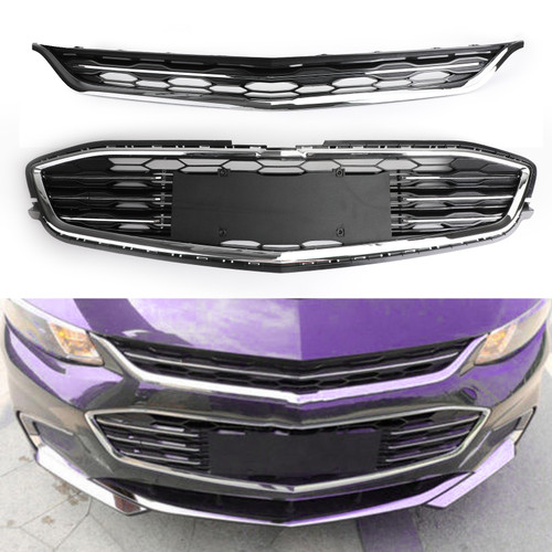 Honeycomb Mesh Chrome Front Bumper Upper & Lower Grille For Chevy Malibu 2016-2017