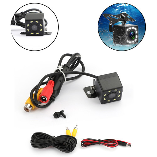 Car Rear View Backup Camera Reverse Parking License Plate System Waterproof 8LED