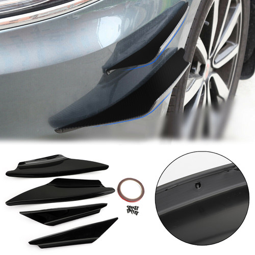 4pcs Bumper Canards Fin Wing Diffuser Trim Mods Gloss Black