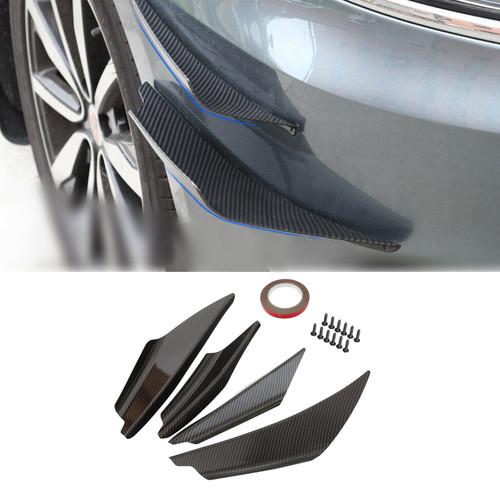 4pcs Bumper Canards Fin Wing Diffuser Trim Mods Faux Carbon Fiber