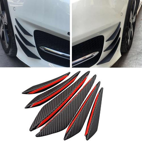6pcs Bumper Canards Fin Wing Diffuser Trim Mods Faux Carbon Fiber