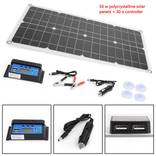 Solar Panel Battery Phone Charger Board 10/15/20/25/50W for RV Boat