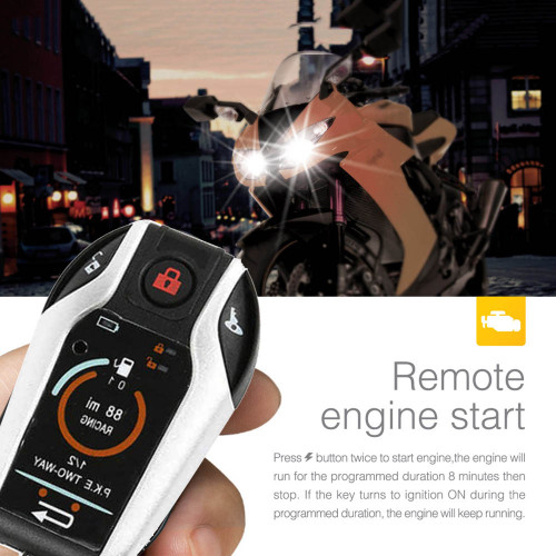 2 Way 12V Motorcycle Scooter Alarm Dual Remote Controls Engine Start/Stop Alarm