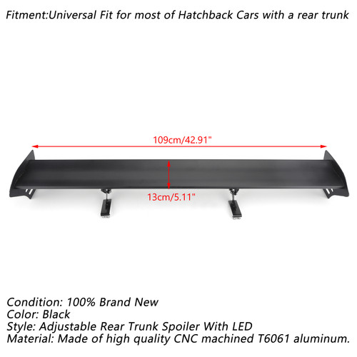 Universal Hatch Adjustable Aluminum Rear Trunk Wing Racing Spoiler With LED Black