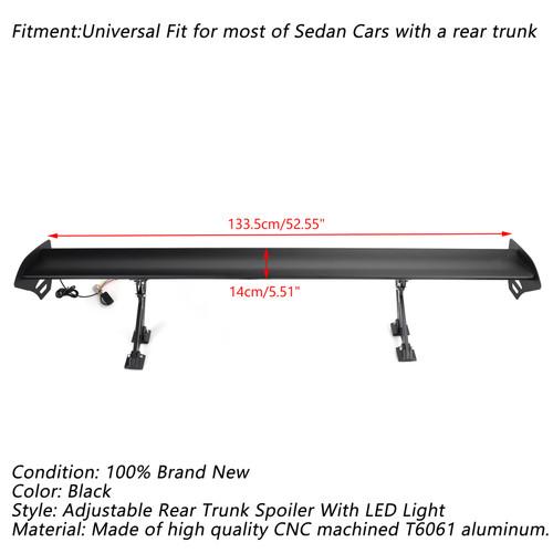 Universal Sedan Adjustable Aluminum Rear Trunk Wing Racing Spoiler W/ LED Light Black