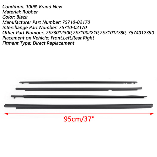 Door Weatherstrip Belt Seal Window Moulding Trim Fits Toyota Corolla 07-13 Black