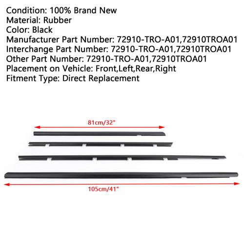 4pcs Car Weatherstrip Window Moulding Trim Seal Belt For Honda Civic 12-15 Black