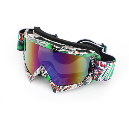 Motorcycle Racing Goggles Motocross MX MTB ATV UTV Dirt Bike Off-road Eyewear Green Frame & Colorful Lens