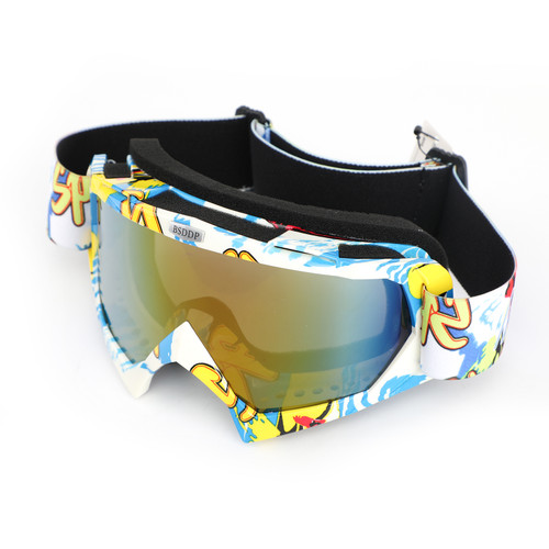 Motorcycle Racing Goggles Motocross MX MTB ATV UTV Dirt Bike Off-road Eyewear Blue Frame & Colorful Lens