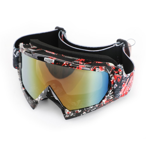 Motorcycle Racing Goggles Motocross MX MTB ATV UTV Dirt Bike Off-road Eyewear Black+Red & Colorful Lens