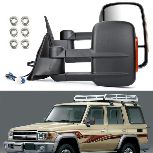 Electric Towing Caravan Mirrors For Toyota Landcruiser 100 Series 98-07 Black