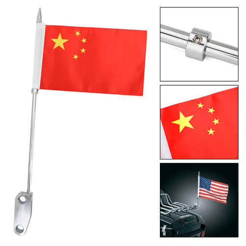 Luggage Rack Mount CN Flag Pole Fit For Harley Touring Electra Glide Chrome