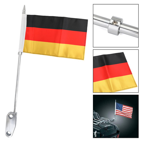 Luggage Rack Mount DE Flag Pole Fit For Harley Touring Electra Glide Chrome