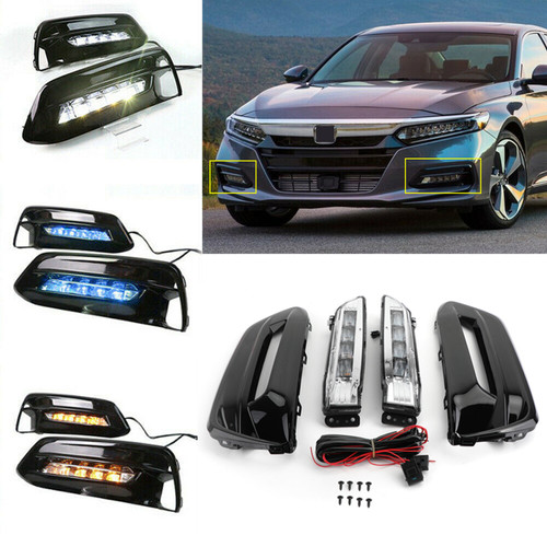 LED Bumper Fog Lights Lamps Bezel w/Wiring Kit For Honda Accord Sedan 2018-2019 Black