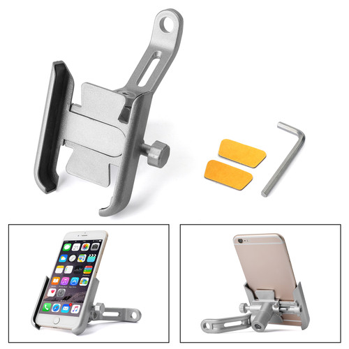 Adjustable CNC Rearview 10MM Mirror Mount Mobile Phone Holder Silver