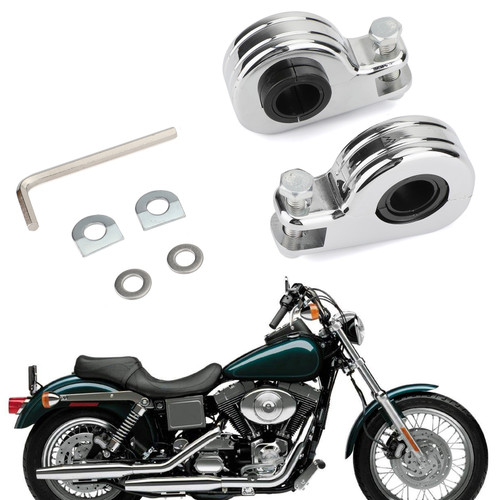 "Foot Peg Mount Clamps 1.25"" Highway Engine Crash Bar For Harley models with 21mm/24mm/32mm Engine guard or frame tube Chrome"