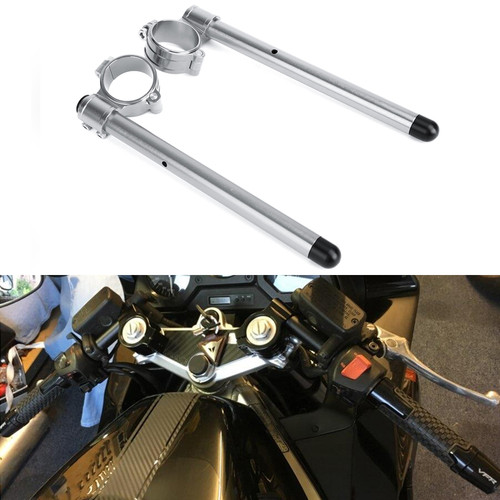"""7/8"""" Adjustable Racing Handle Bar 50mm Clip-on For Kawasaki ZX600R NINJA 95-97 ZX600 NINJA 93-02 ZX1000 NINJA 88-90 EX650R NINJA 06-08 FZR750 87-88 Silver"""