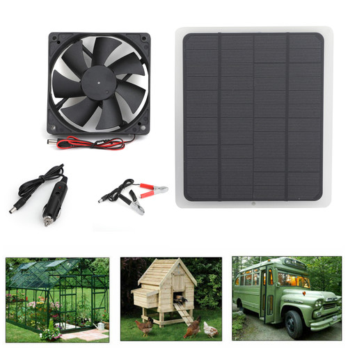 Solar Panel Powered Fan Mini Ventilator For Greenhouse Pet/Dog Chicken House