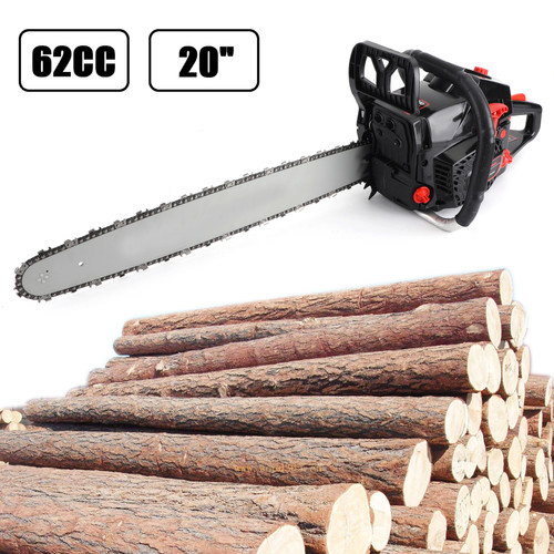 """62cc Chainsaw 20"""" Bar Powered Engine 2 Cycle Gasoline Chain Saw Red"""