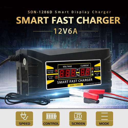 12V 6A Smart Fast Lead-acid Battery Charger for Car Moto LCD Display EU Plug