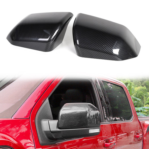 Side Mirror Cover Caps ABS Carbon Fiber Replace For Ford F150 2015-2019 Raptor