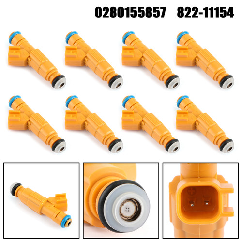 8PCS Fuel Injectors 0280155857 For Ford Crown Victoria 99-00 E-350 F-250 Super Duty 99 Yellow