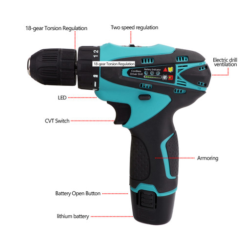 12V 32N.m 2-Speed Electric Lithium-Ion Battery Cordless Drill Mini Drill Blue