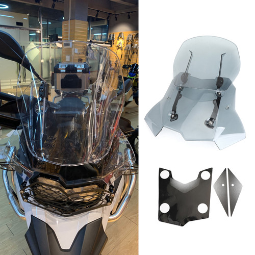 Adjustable ABS Windshield WindScreen for BMW F750GS/F850GS 2018-2019 Gray