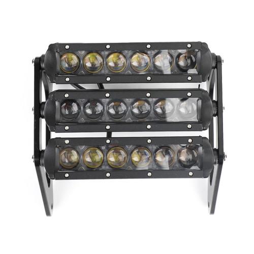 3Row LED Headlight Fog Light Aluminum for Honda MSX125 Grom 13-15 MSX125SF Grom 16-19 Black