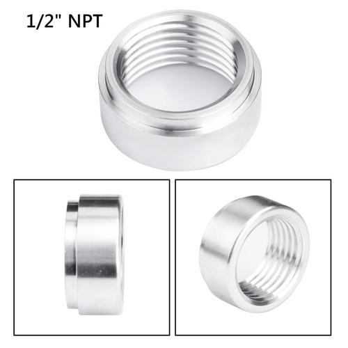 "1/2"" NPT Female Aluminum Weld On Fitting Bung Silver"