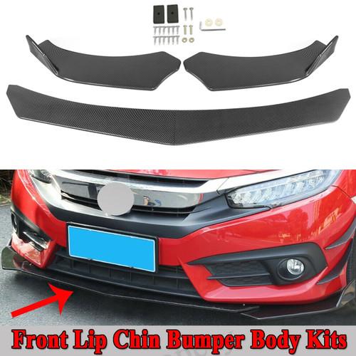 4PCS Universal Front Bumper Lip Body Kit Spoiler Fit For BMW Golf MK5 MK6 MK7 CC Passat Jetta LEXUS  Mercedes Benz Carbon Fiber