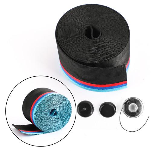 Car Seat Belt Webbing Polyester Seat Lap Retractable Nylon Safety Strap 3.5M Black