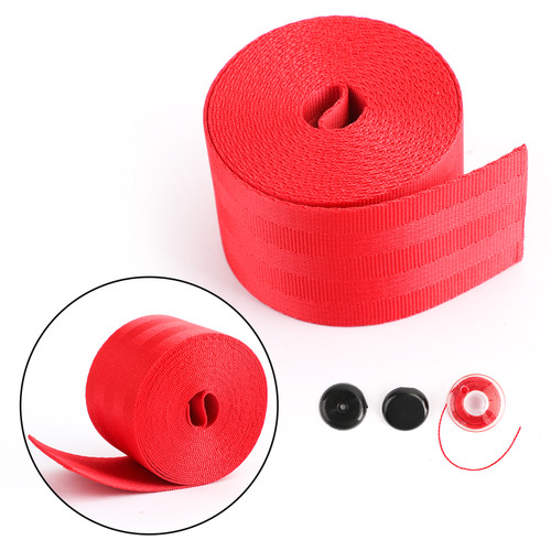 Car Seat Belt Webbing Polyester Seat Lap Retractable Nylon Safety Strap 3.5M Red