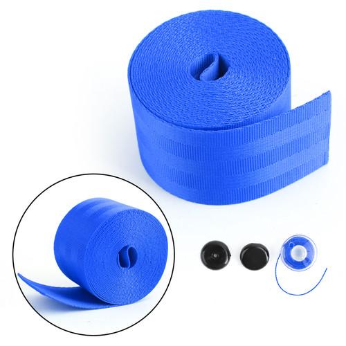 Car Seat Belt Webbing Polyester Seat Lap Retractable Nylon Safety Strap 3.5M Blue