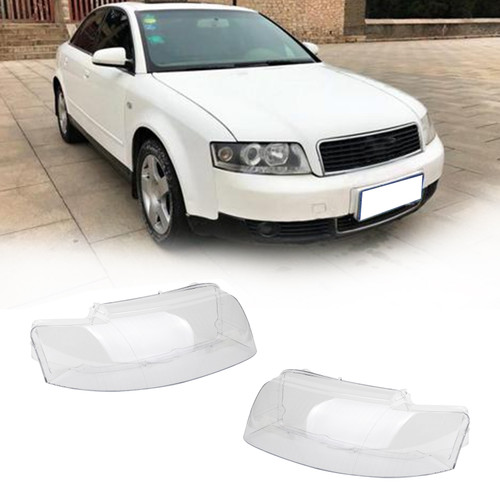Pair Headlight Headlamp Lens Cover Left and Right Fits For Audi A4 8E B6 2002-2004 Clear