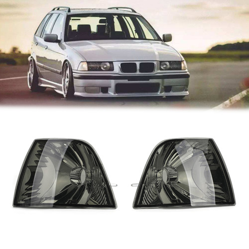 Smoke Corner Lights Parking Lamps PAIR Fits For BMW 3-Series E36 4DR 92-98 Smoke